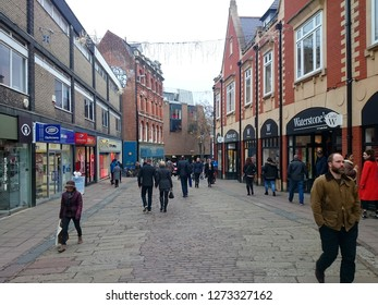 Norwich, Norfolk, England - January 3rd, 2019. The shopping district within the center of the city of Norwich, England