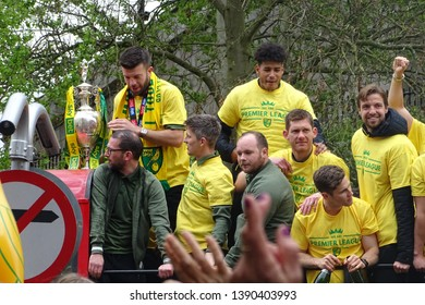 Norwich, Norfolk, England, UK - 6 May 2019. Norwich City celebrate winning the Championship title and promotion to the Premier League.