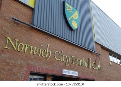 Norwich, Norfolk, England, UK - April 19 2019. Carrow Road, home of Norwich City Football Club.
