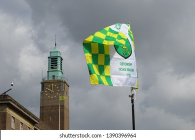 Norwich, Norfolk, England, UK - May 6 2019. Norwich City celebrate becoming champions and promotion to the Premier League.