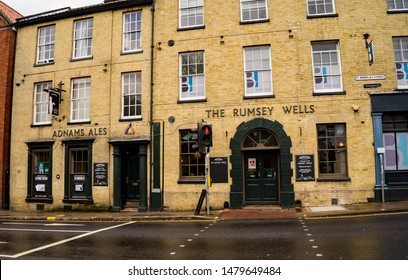 Norwich, Norfolk, UK – April 28 2019. The Rumsey Wells ale house in the medieval city of Norwich, Norfolk. This traditional and real ale pub is owned by the Adnams Brewery.