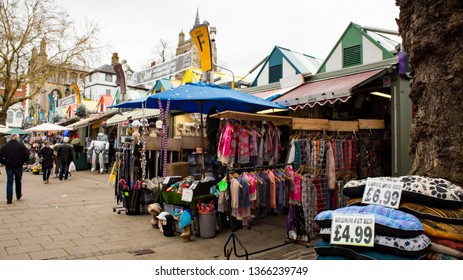 Norwich, Norfolk, UK – April 6 2019: A view of the colourful Norwich market, which is claimed to be one of the largest outdoor markets not only in the UK but in Europe