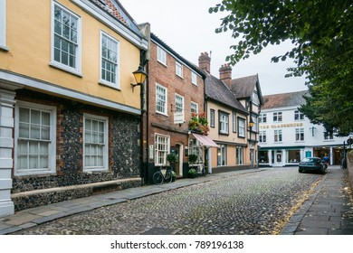 NORWICH, NORFOLK, UK, OCTOBER 4TH 2017 - Ancient English cobbled street of Elm Hill, Norwich, Norfolk, UK