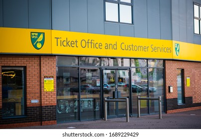 Norwich, Norfolk, United Kingdom March 31st 2020: Norwich City Football Club ticket and customer service office