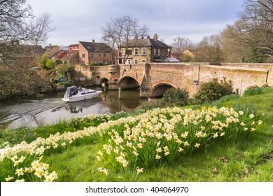 Norwich riverside at Bishopgate Bridge in Spring
