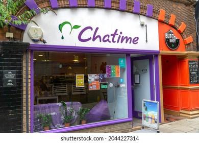 Norwich, UK - August 15 2021: Chatime, Bubble tea shop in Norwich city centre