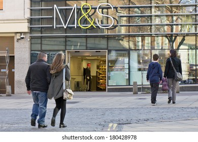 NORWICH, UK - FEBRUARY 21, 2014: Large branch of the Marks and Spencer department store chain in Norwich city centre.