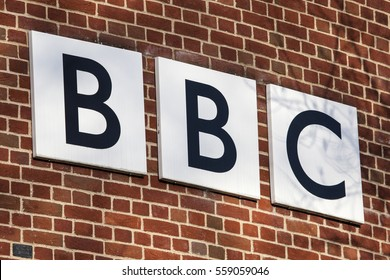 NORWICH, UK - JANUARY 17TH 2017: The BBC logo on the exterior of their BBC East headquarters at The Forum in Norwich, on 17th January 2017.