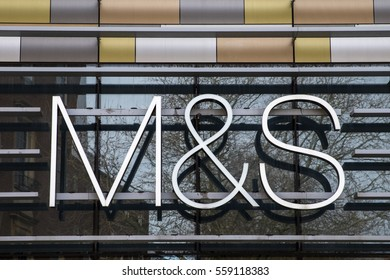NORWICH, UK - JANUARY 17TH 2017: The M&S logo above the entrance to the Marks and Spencer store in Norwich city centre, on 17th January 2017.
