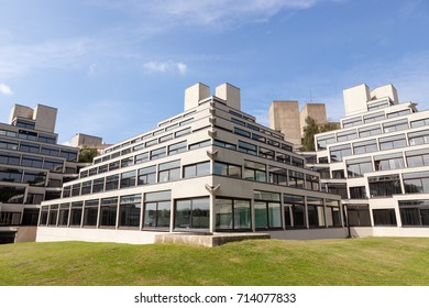 Norwich, United Kingdom - August 26, 2017: A students' residential block, designed by Denys Lasdun, one of many on the campus at the University of East Anglia, Norwich, UK.