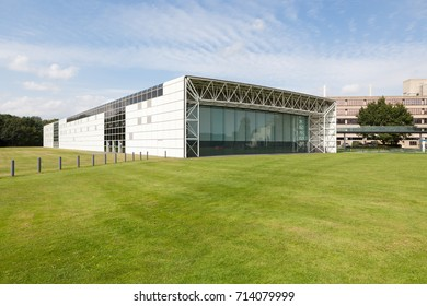 Norwich, United Kingdom - August 26, 2017: Exterior of The Sainsbury Centre for Visual Arts, designed by Norman Foster and located on the University of East Anglia campus, Norwich, Norfolk, UK.