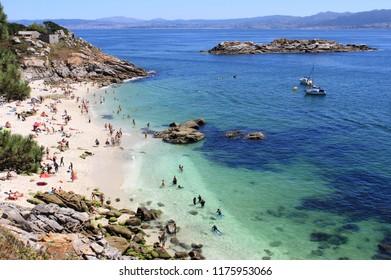 Nosa Senora beach in Cies islands. Galicia, Spain