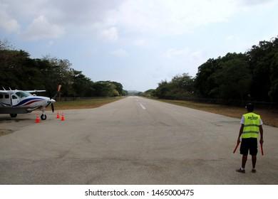 Nosara, Guanacaste / Costa Rica - April 2019: Nosara (Punta Guiones and Samara) Airport in Costa Rica.