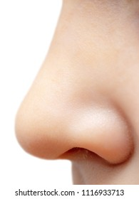 Nose boy isolated on a white background .