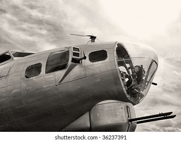 Nose gun and bombardier turret on WWII-era B-17 Flying Fortress