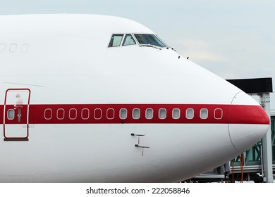 Nose of Jumbo Jet at the gate