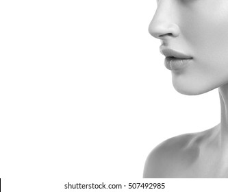 Nose lips profile Beautiful Woman Face Portrait Beauty Skin Care Concept. Fashion Beauty Model isolated on white black and white