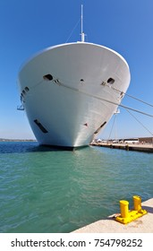 The nose of the passenger cruise liner in the port of the Greek town Katakolon (Olympia)