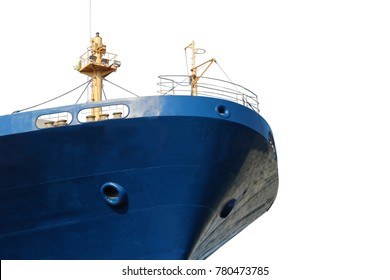 Nose ship, forward ship under repair at floating dry dock isolated on whtie background
