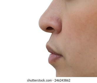 Nose women white background