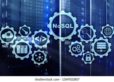 NoSQL. Structured Query Language. Database Technology Concept. Server room background.