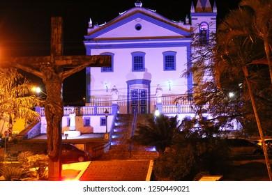 Nossa Senhora d'ajuda church at night. Ilhabela, Brazil