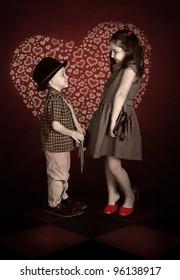 Nostalgia image of Couple in love of children