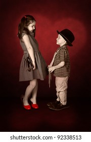 Nostalgia image of young lady and little gentleman confession in love