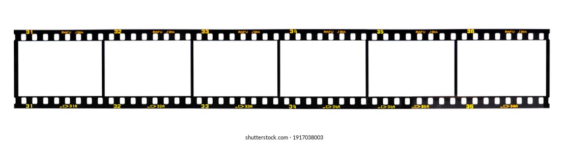 Nostalgic 35mm camera film with space for your images isolated on white background.  Film's fiction brand name Rafu Jira was created by the artist