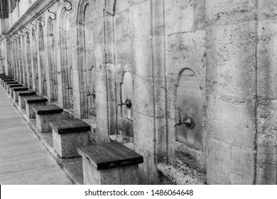 Nostalgic (black and white) photo from ablution area of Fatih mosque in Istanbul