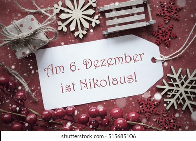 Nostalgic Christmas Decoration, Label With Nikolaus Means Nicholas Day