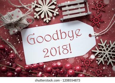 Nostalgic Christmas Decoration, Label With Text Goodbye 2018