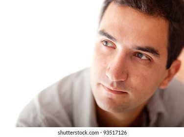 Nostalgic man looking to the side - isolated over a white background