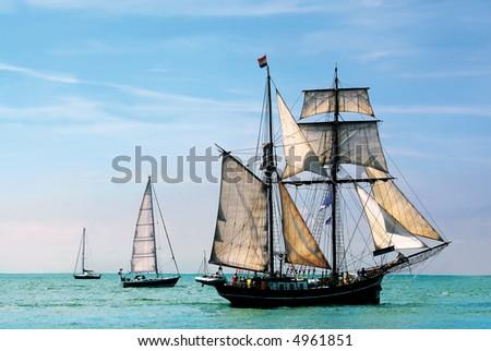 nostalgic pirateship sailing the