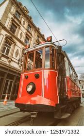 Nostalgic Red Tram At Tunel, Beyoglu, Istanbul, Turkey