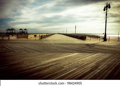 Nostalgic, vintage style image from the Brooklyn Coney Island Boardwalk