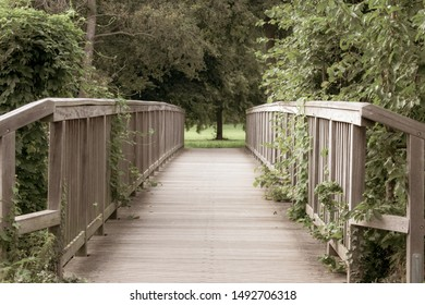 nostalgic wooden bridge. Location: Germany, North Rhine-Westphalia, Hoxfeld