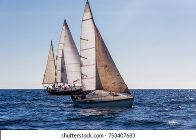 Nosy Be, Madagascar, June 26, 2017: Monohulls sailboats racing in the Mozambique Channel