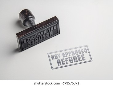 not approved refugee text on paper from rubber stamp