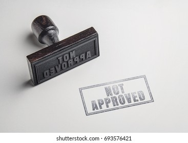 not approved text on paper from rubber stamp