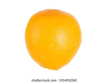 Not cut orange on white background