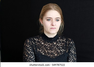 A not so happy young woman.