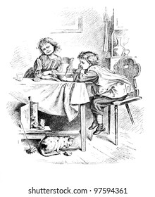 """Not hungry"" - engraving by Oscar Pletsch. Published in �«Little Folks�» book, London, 1865"