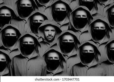 Not like everyone, a man is not wearing a protective mask among other people wearing masks. concept of social consciousness and proper behavior during a coronavirus pandemic