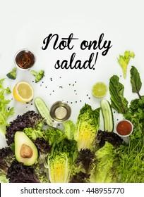 Not only salad - green food concept. Vegan food.