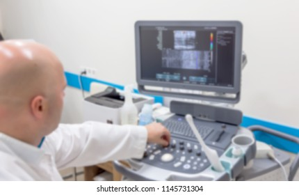 Not sharp medical background of ultrasound. Without focus, medical background of an ultrasound examination of sick patients in medical office. Ultrasound diagnosis of diseases