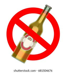 Not to throw beer bottle sign, No Alcohol concept, 3d illustration