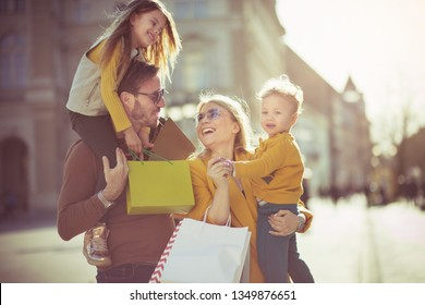 Is not it a wonderful day, for a walk and shopping? Family shopping in the city.