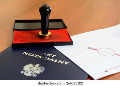 Notarial act and stamp used by the notary