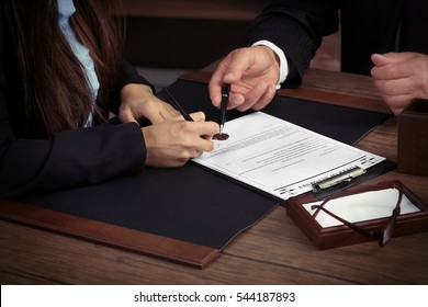 Notary with client in office
